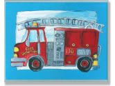 The Kids Room Fire Truck Blue Border Wall Plaque (The Kids Room by Stupell: 049182012456)