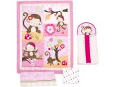 Kids Line Miss Monkey 4-Piece Crib Bedding Set, 4-Pack (KidsLine: 789887321636)