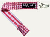 Baby Dry Goods 030-17 Red-White Houndstooth Pacifier Clip (Baby Dry Goods: 794504100310)