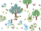 WallCandy Arts Forest Friends, Blue/Green (WallCandy Arts: 814217010284)
