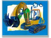 The Kids Room Rectangle Wall Decor, Yellow/Blue Excavator (The Kids Room by Stupell: 049182013217)