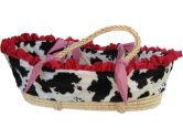 Patricia Ann Designs Satin Cow Moses Basket with Check Trim, Red (Patricia Ann Designs: 819093010731)
