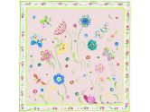 The Kids Room Square Wall Decor, Green Floral/Butterflies/Snail withPink Border (The Kids Room by Stupell: 049182013200)