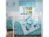 Peacock Blue 4 Piece Crib Bedding Set by Bananafish (Bananafish: 819550010694)