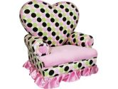 Newco Kids 70145 Princess Heart Chair Minky Pink & Brown Polka Dot (Newco Kids: 658129701454)