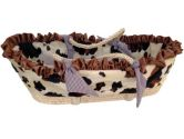 Patricia Ann Designs Satin Pony Moses Basket with Check Trim, Chocolate (Patricia Ann Designs: 819093010748)