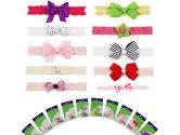 Bundle Monster 10 piece Soft Lace Infant Toddler Baby Bow Grosgrain Ribbon Headband Set (Bundle Monster: 609613423628)