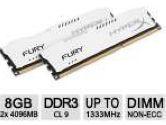 Kingston HyperxFURY Memory White 8GB 2x4GB DDR3-1333 CL9 Dual Channer Memory Kit (Kingston: HX313C9FWK2/8)