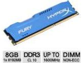 Kingston HyperxFURY Memory Blue 8GB 1x8GB DDR3-1600 CL10 Single Channer Memory Module (Kingston: HX316C10F/8)