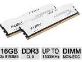 Kingston HyperxFURY Memory White 16GB 2x8GB DDR3-1333 CL9 Dual Channer Memory Kit (Kingston: HX313C9FWK2/16)