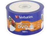 Verbatim DVD-R 16x 4.7GB White Inkjet Hub Printable 50 Disc Plastic Wrap (VERBATIM: 97167)
