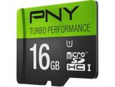 PNY Turbo Performance microSDHC Class 10 16GB UHS-I U1 90MBS Read Flash Drive (PNY Technologies Inc: P-SDU16GU190G-GE)