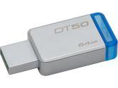 Kingston DT50/64GBCR 64GB USB 3.0 DataTraveler 50 METAL/BLUE Flash Memory (Kingston: DT50/64GBCR)