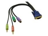 CablesToGo 15 FT ULTIMA 5-in-1 DESKTOP EXTENSION HD15 VGA M/F CABLE WITH SPEAKER & MIC 29631 (Cables to Go: 29631)